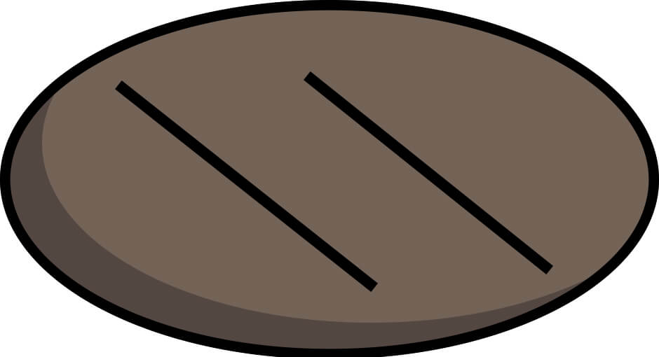 Template of how to score a sourdough bread bâtard with the french cut