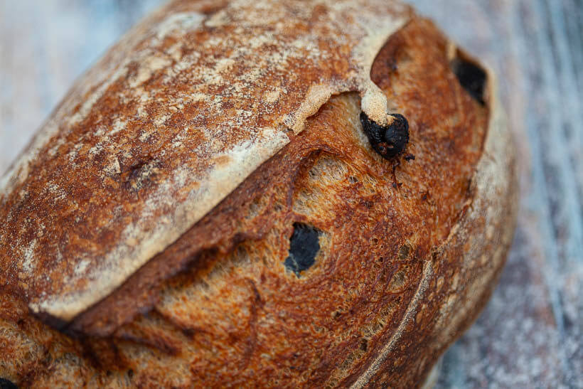 Sourdough olive bread made using baker's math Explained in this article. This recipe was developed using baker's percentages