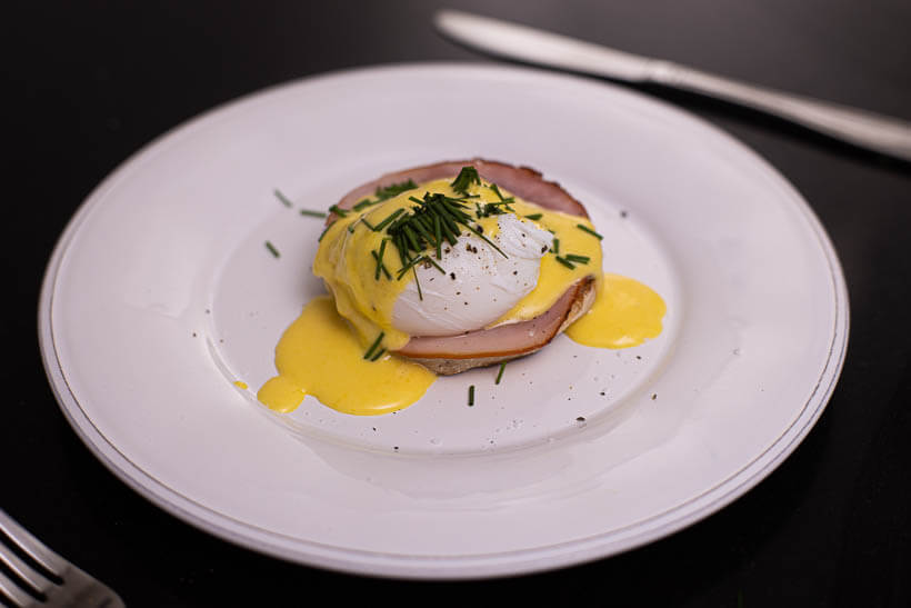 Perfect Eggs Benedict on a sourdough English muffin