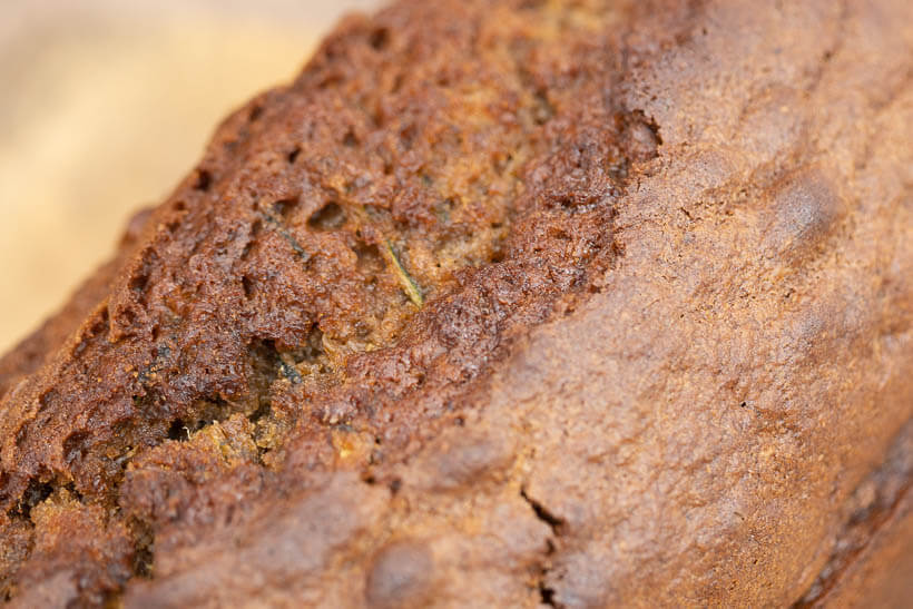 the crust of the sourdough zucchini bread made with this recipe