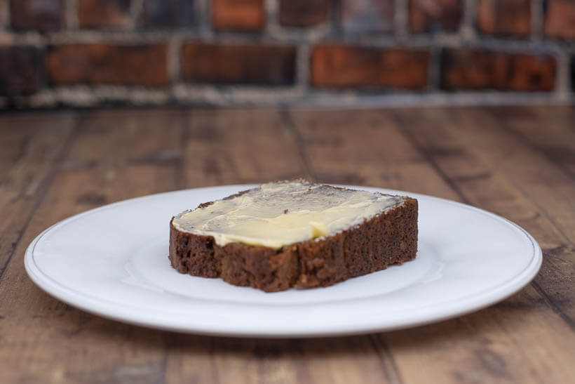 a piece of zucchini bread with delicious butter made from cream from grass fed cows